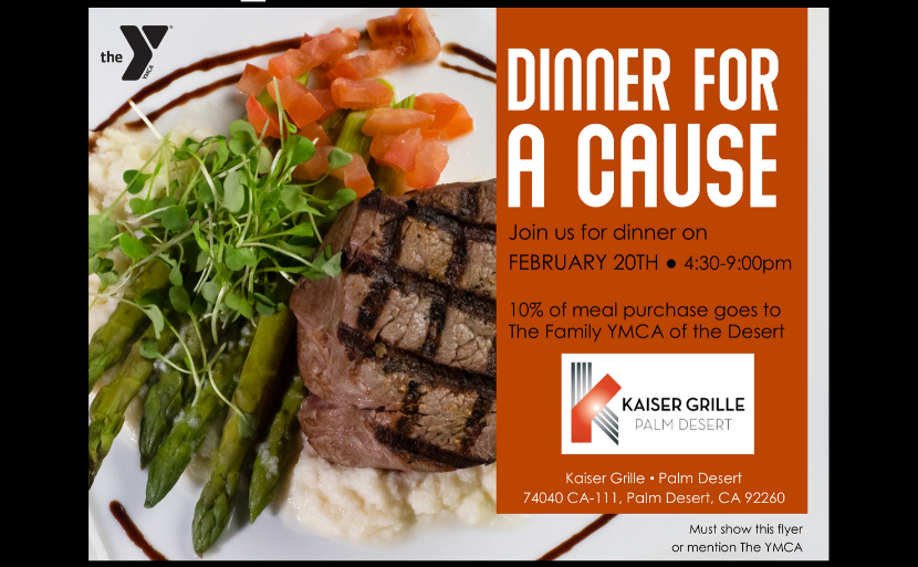 A flyer describibg a fundraising event on 2/20/200 at Kaiser Grille PD